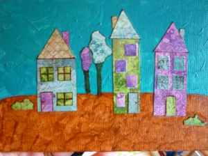 Painted Collage with Houses