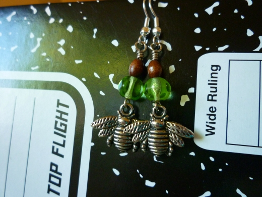 Silver and Green Bee earrings with wood accent