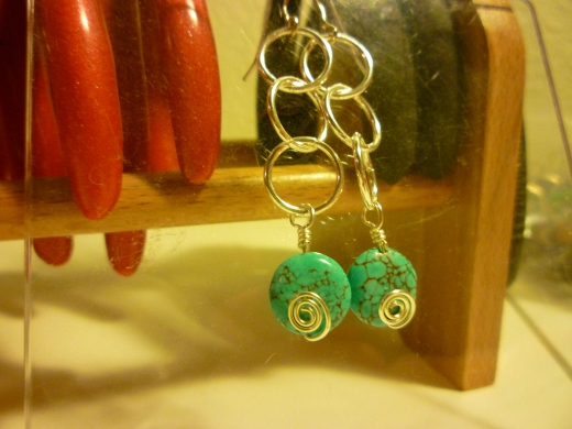 Silver spiral earrings with turquoise