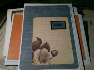 Blue card with Floral motif and 'Blossom' sticker