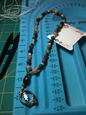 Completed Prayer Beads with Grateful Dead Skull