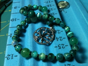 Completed Green Prayer Beads wtih Tree pendant