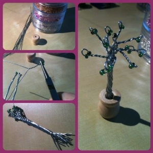 Beaded Tree. Silver with Green