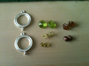 Project Guts. Earrings. Brown and Green