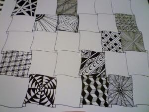 Zentangle. Sampler halfway done
