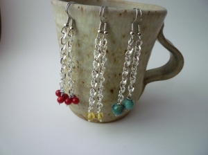 Jewelry. Earring collection. Silver chain with Colorful dangle accents (4)