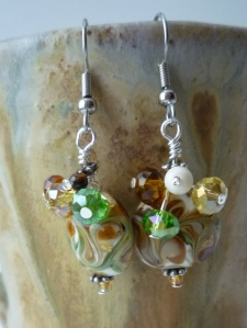 Jewelry. Earrings. Lampwork beads with Crystal and Stone accents (3)