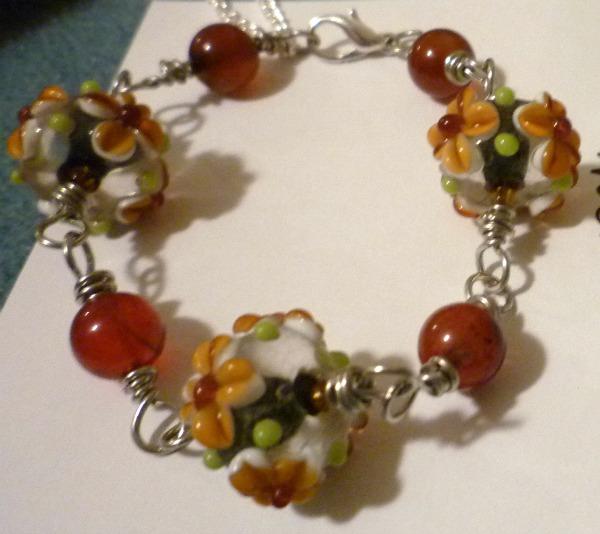 Floral Lampwork Bracelet with Amber