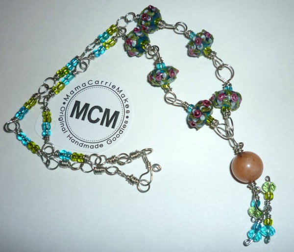 Floral Lampwork Necklace with green blue rose