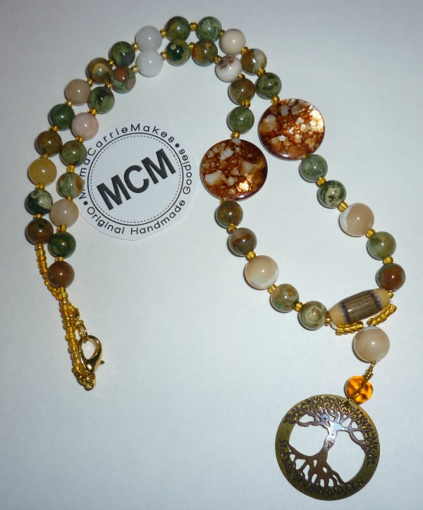 Fossilized Bead Necklace with Tree Focal