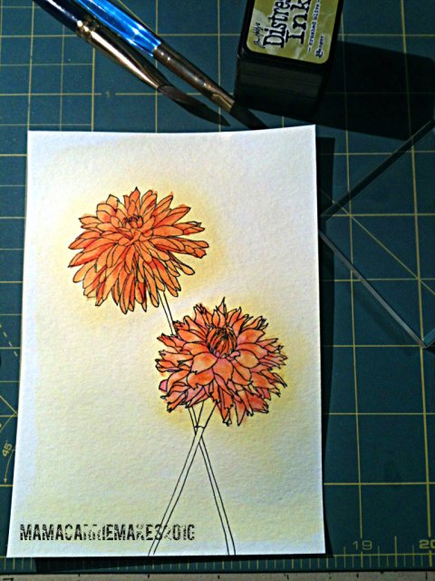 Orange Watercolor Dahlias