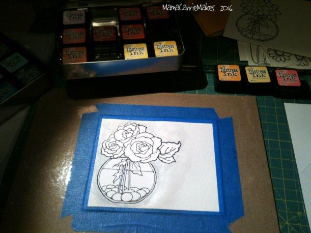 Watercolor card Rose stamp image